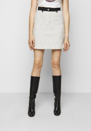 JADKA - Mini skirt - gris/blanc
