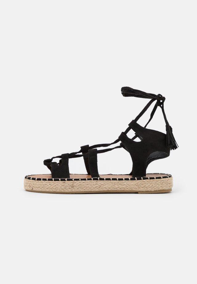 LACE UP - Sandales - black