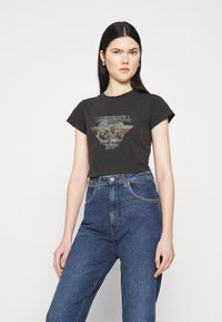 Abrand Jeans - CROP TEE - T-shirt print - faded black - 0