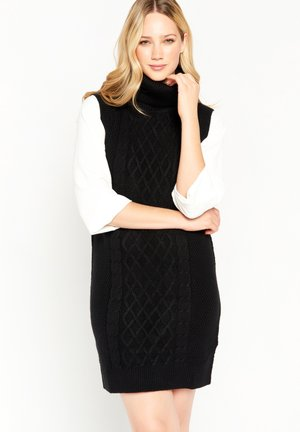 CABLE TURTLE NECK - Shift dress - black