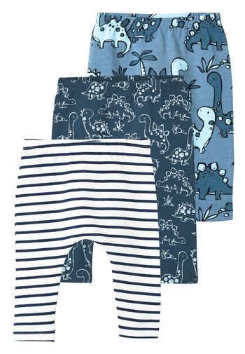 BLUE 3 PACK DINOSAUR LEGGINGS (0MTHS-3YRS) - Leggings - Trousers - blue