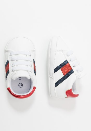 First shoes - white/blue/red