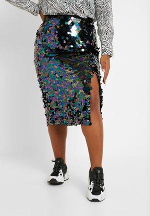 IRIDESCENT SEQUIN SPLIT SIDE SKIRT - Blyantnederdel / pencil skirts - teal/purple