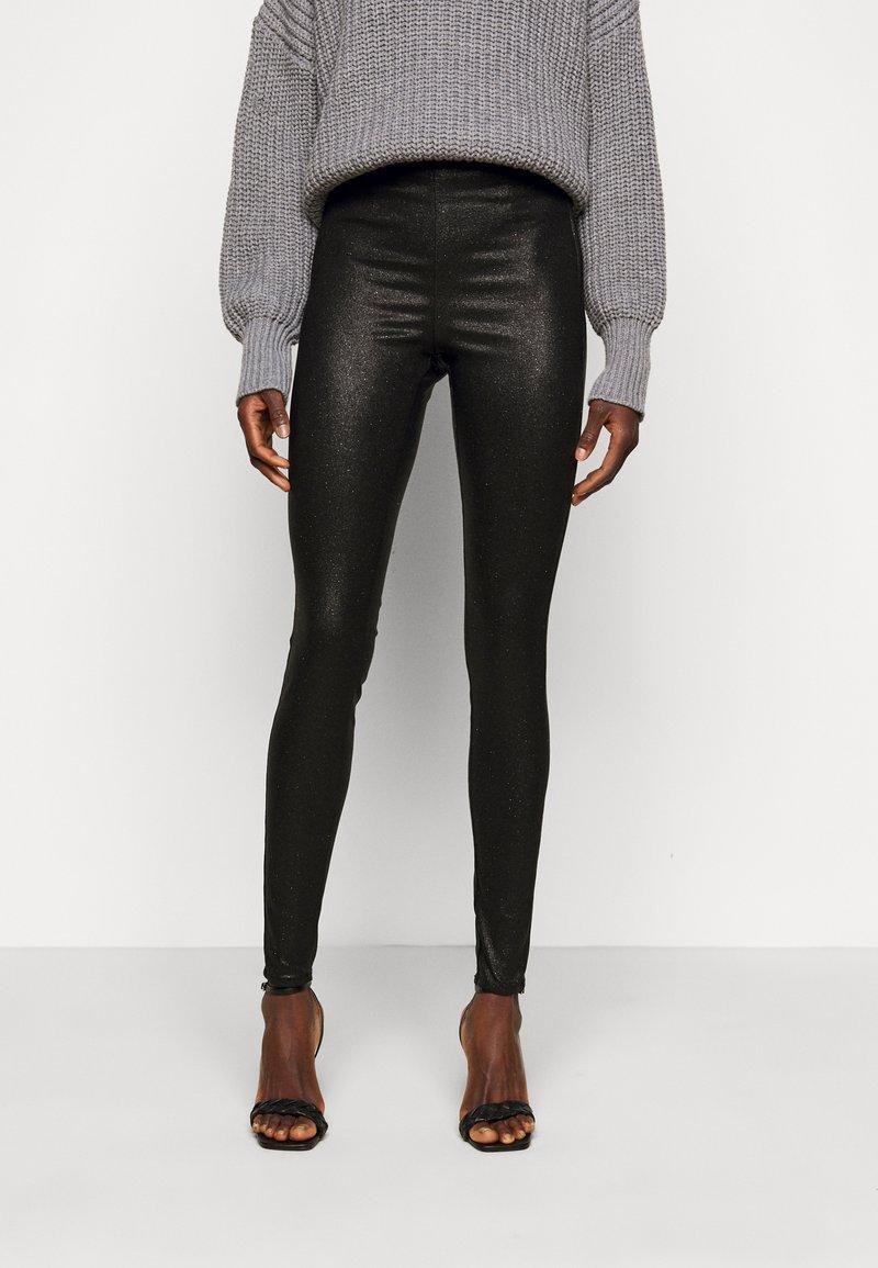 PIECES Tall - PCSKIN PARO GLITTER - Leggings - Trousers - black