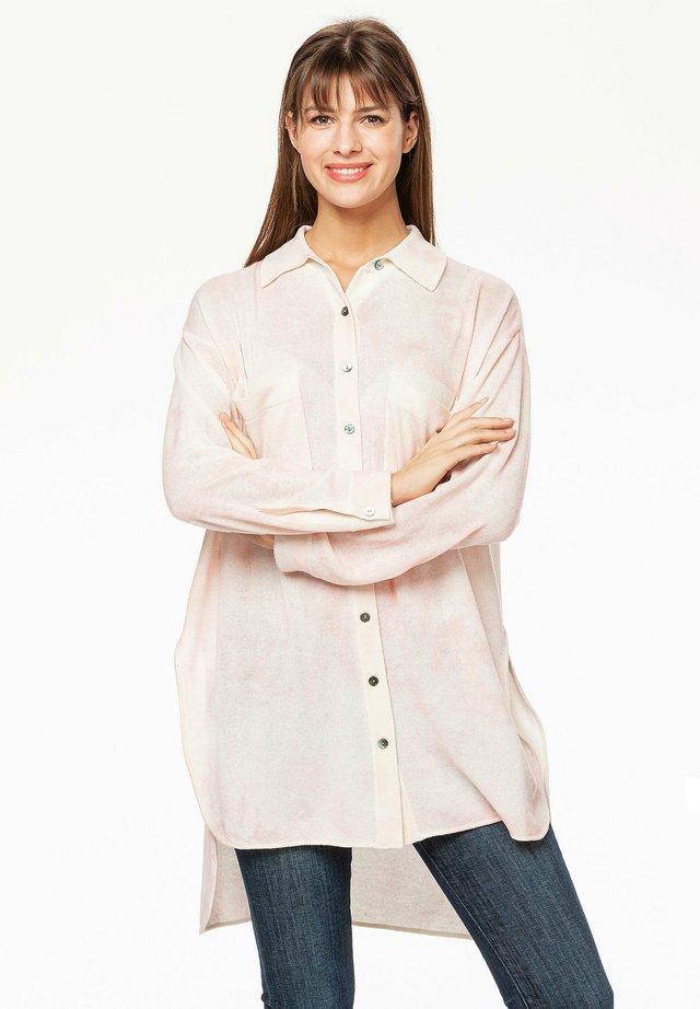 Button-down blouse - rosa/weiß