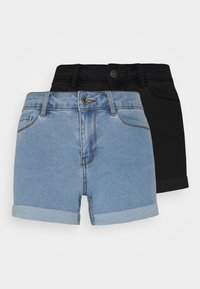 Vero Moda Petite - VMHOT SEVEN 2 PACK - Shorts vaqueros - black/light blue - 0