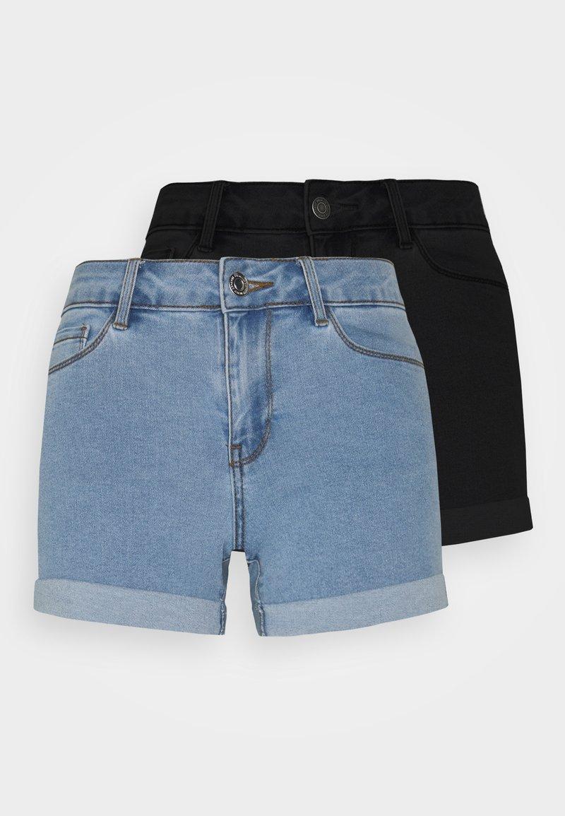 Vero Moda Petite - VMHOT SEVEN 2 PACK - Shorts vaqueros - black/light blue