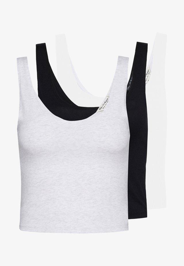 SCOOP CROP 3PACK - Top - black/white/grey