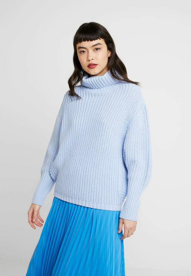 BATWING ROLL NECK - Pullover - blue