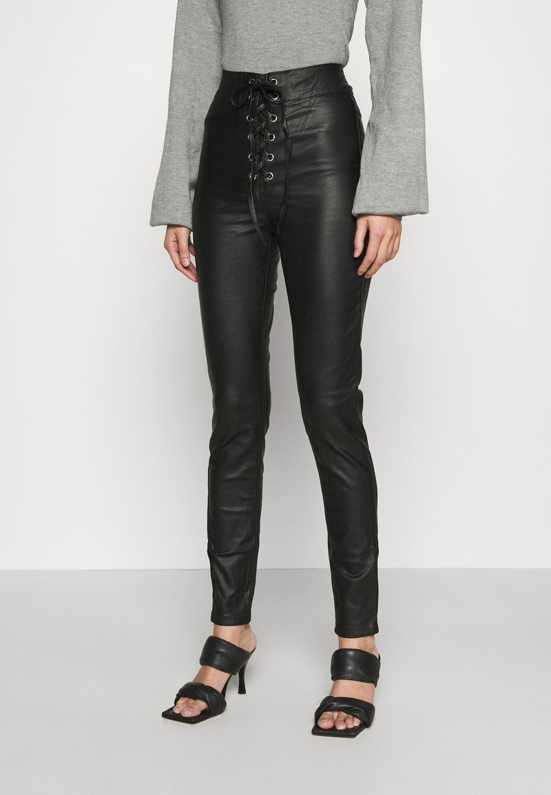 Missguided - COATED CORSET DETAIL - Kalhoty - black