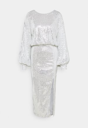 SEQUIN BALLOON SLEEVE SIDE SPLIT DRESS - Cocktail dress / Party dress - silver