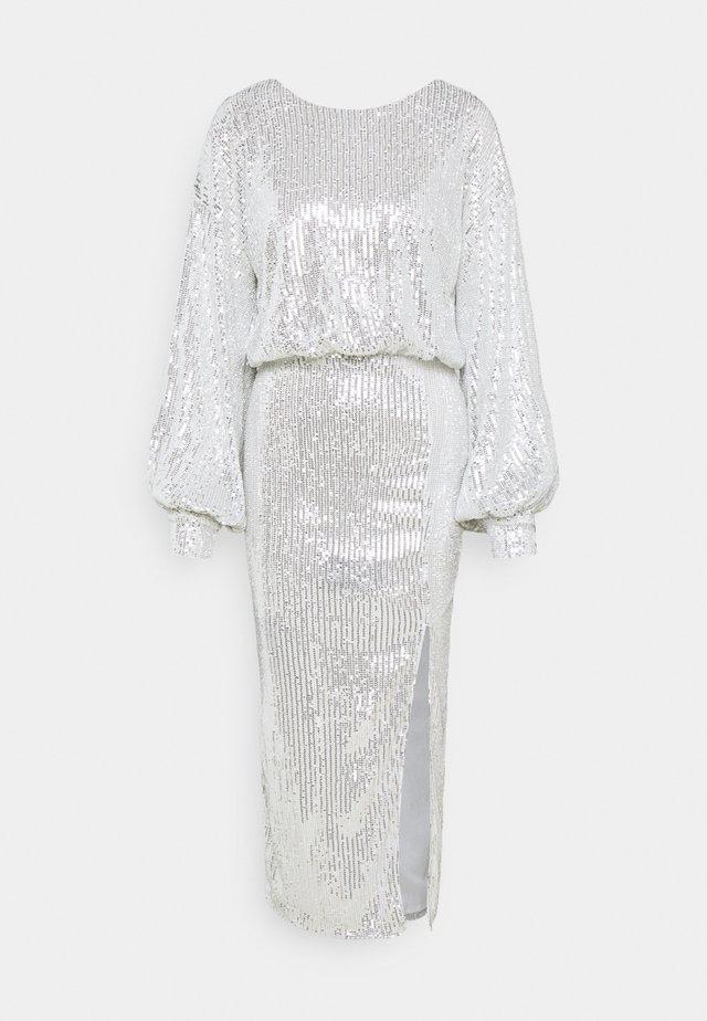 SEQUIN BALLOON SLEEVE SIDE SPLIT DRESS - Vestido de cóctel - silver