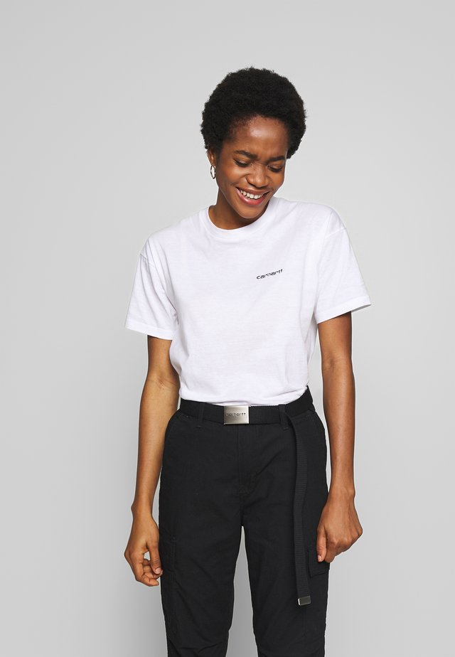 SCRIPT EMBROIDERY - T-shirts - white