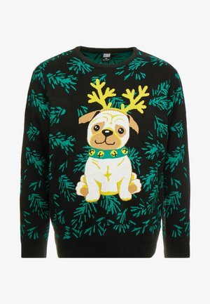 PUG CHRISTMAS SWEATER - Sweter - black