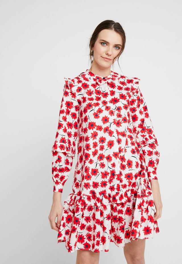NANETTE DRESS - Shirt dress - white/red