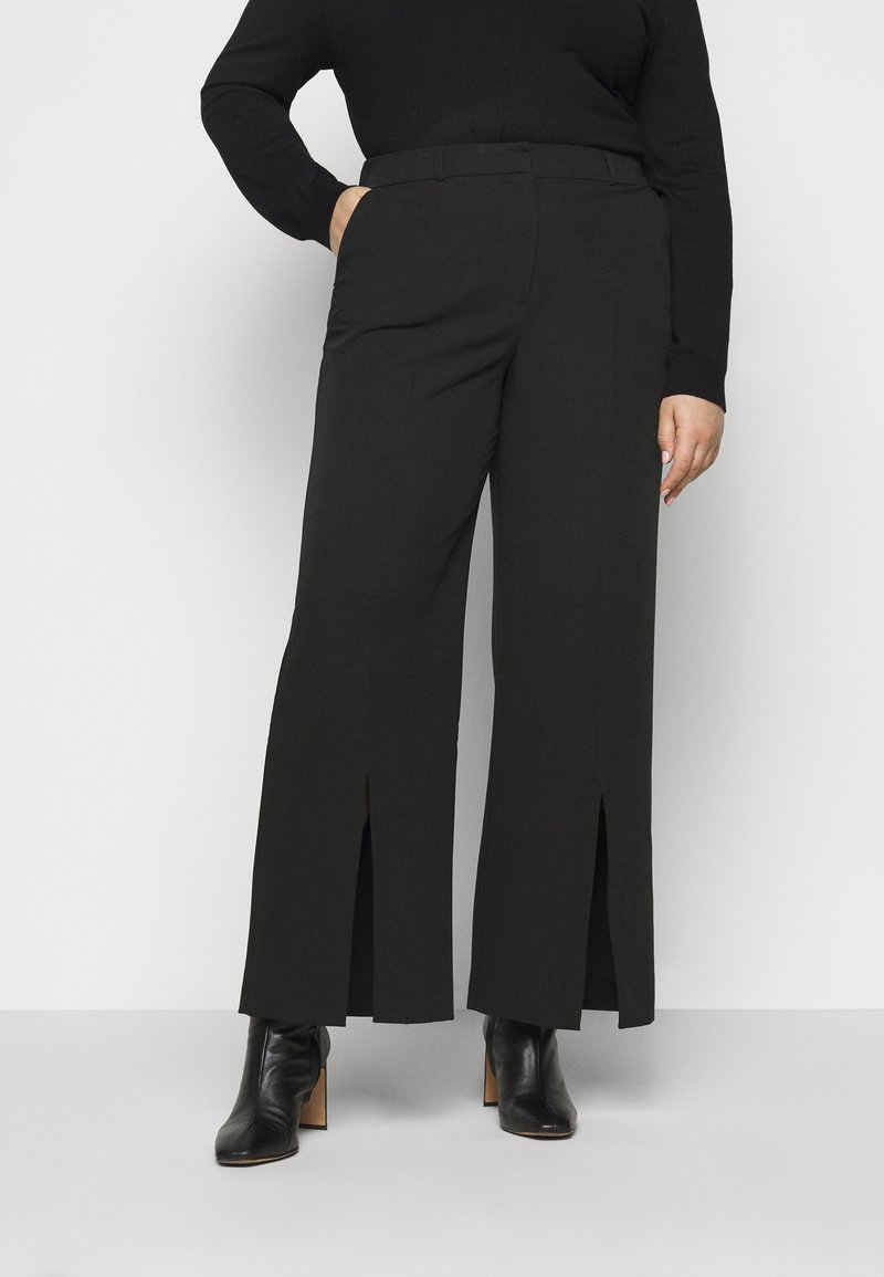 CAPSULE by Simply Be - WIDE LEG SPLIT HEM - Kalhoty - black