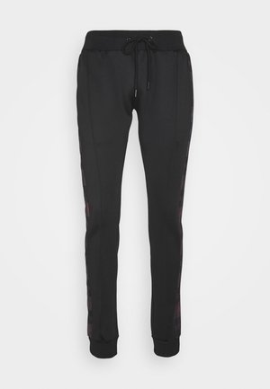 TILLERB - Tracksuit bottoms - black/red