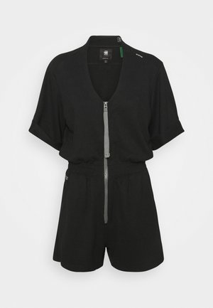 CONTRAST ZIPPER BLOUSE PLAYSUIT - Jumpsuit - raven