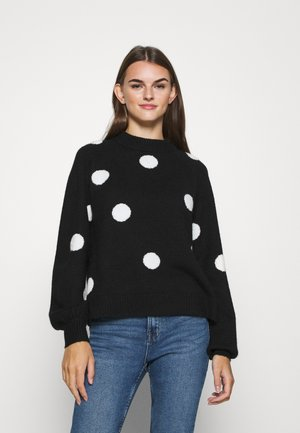 DOTTED JUMPER - Jersey de punto - black/white