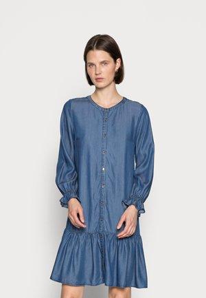 ROSIE FLOUNCE - Denim dress - dark blue denim