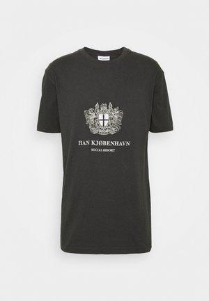 BOXY TEE - Print T-shirt - black/white
