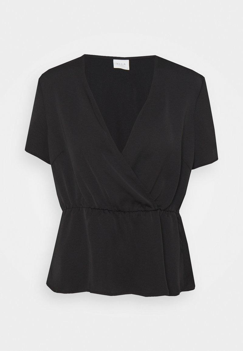 Vila - VIZIPPA WRAP EFFECT - T-shirt con stampa - black