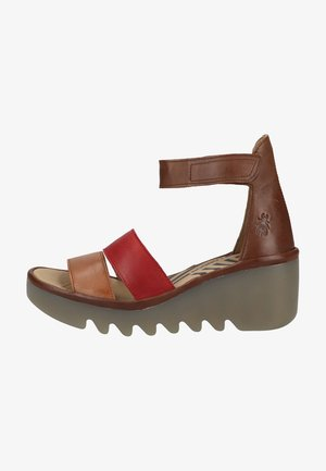 Sandalen met plateauzool - tan/cherry red/brown
