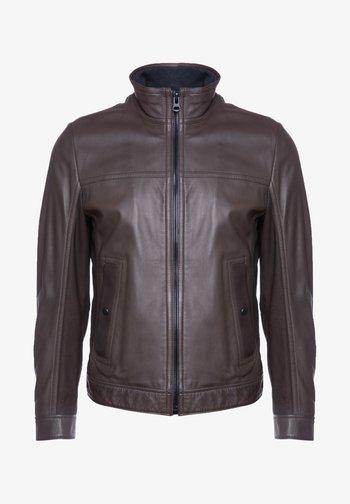 JOLES  - Leather jacket - dark brown