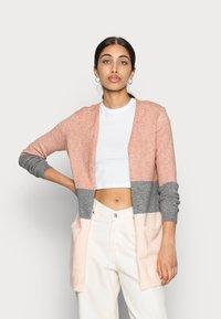 ONLY - ONLQUEEN LONG CARDIGAN - Kardigan - misty rose/mottled grey melange/cloud pink melange - 0