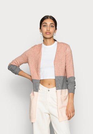 ONLQUEEN LONG CARDIGAN - Chaqueta de punto - misty rose/mottled grey melange/cloud pink melange
