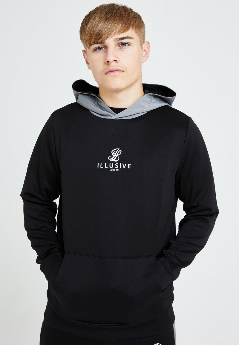 Illusive London Juniors - ILLUSIVE LONDON HYBRID - Hoodie - black & grey