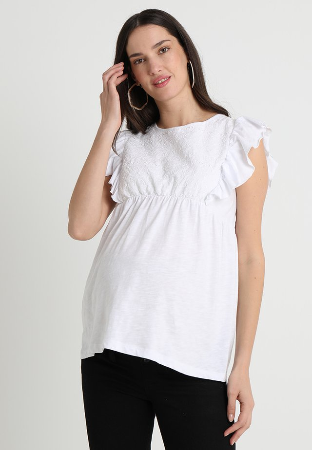 BRODERIE ANGLAISE - T-Shirt print - white