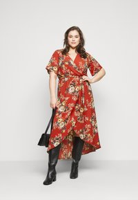 New Look Curves - HI LO FLORAL DRESS - Day dress - red - 1