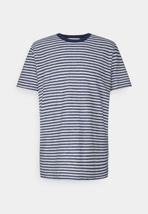 SLHAUGUSTUS  - Print T-shirt - dark blue melange/light grey melange