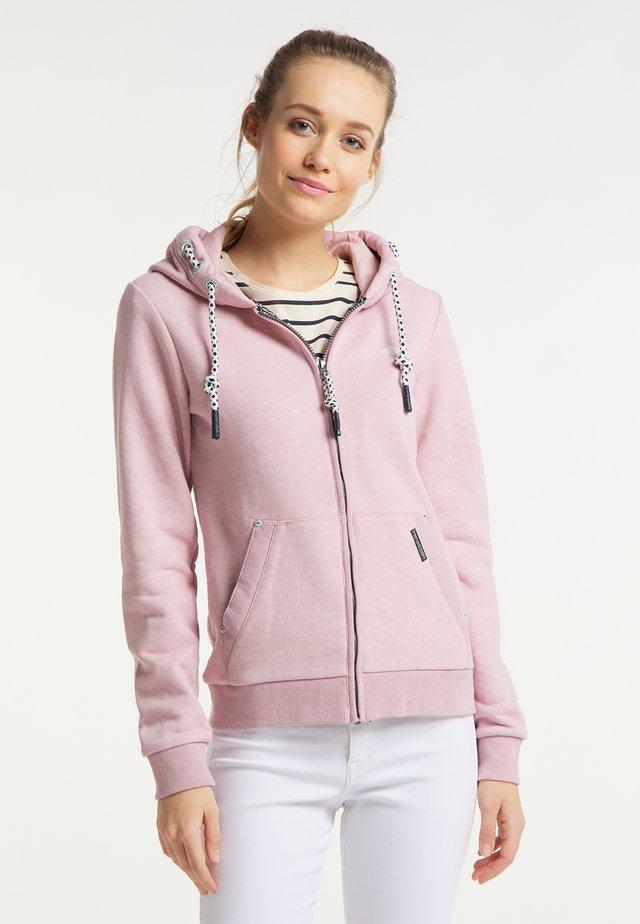 Hoodie met rits - rosa melange