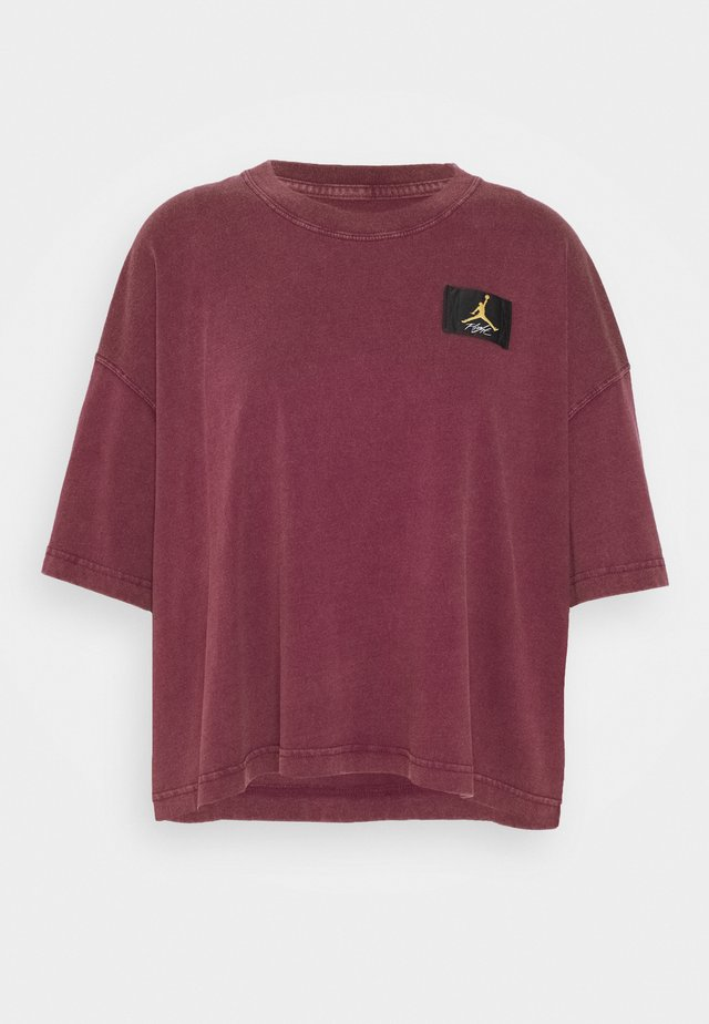 ESSENTIAL BOXY TEE - T-shirt print - bordeaux