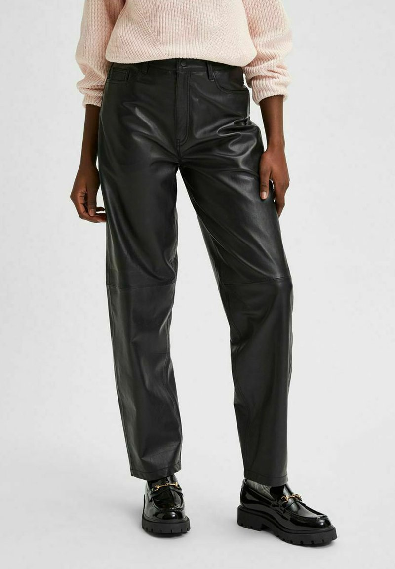 Selected Femme - Leather trousers - black
