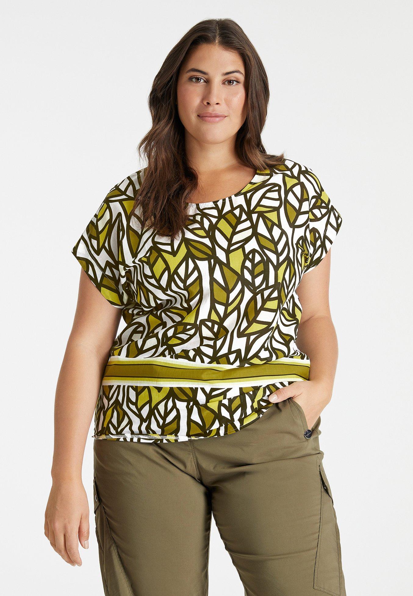 Donna mit Blätter-Print - Camicetta