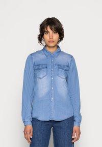 Vila - VIBISTA DENIM SHIRT - Button-down blouse - medium blue denim - 0