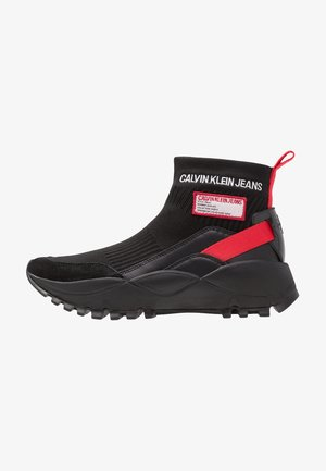 TYSHA - High-top trainers - black/tomato