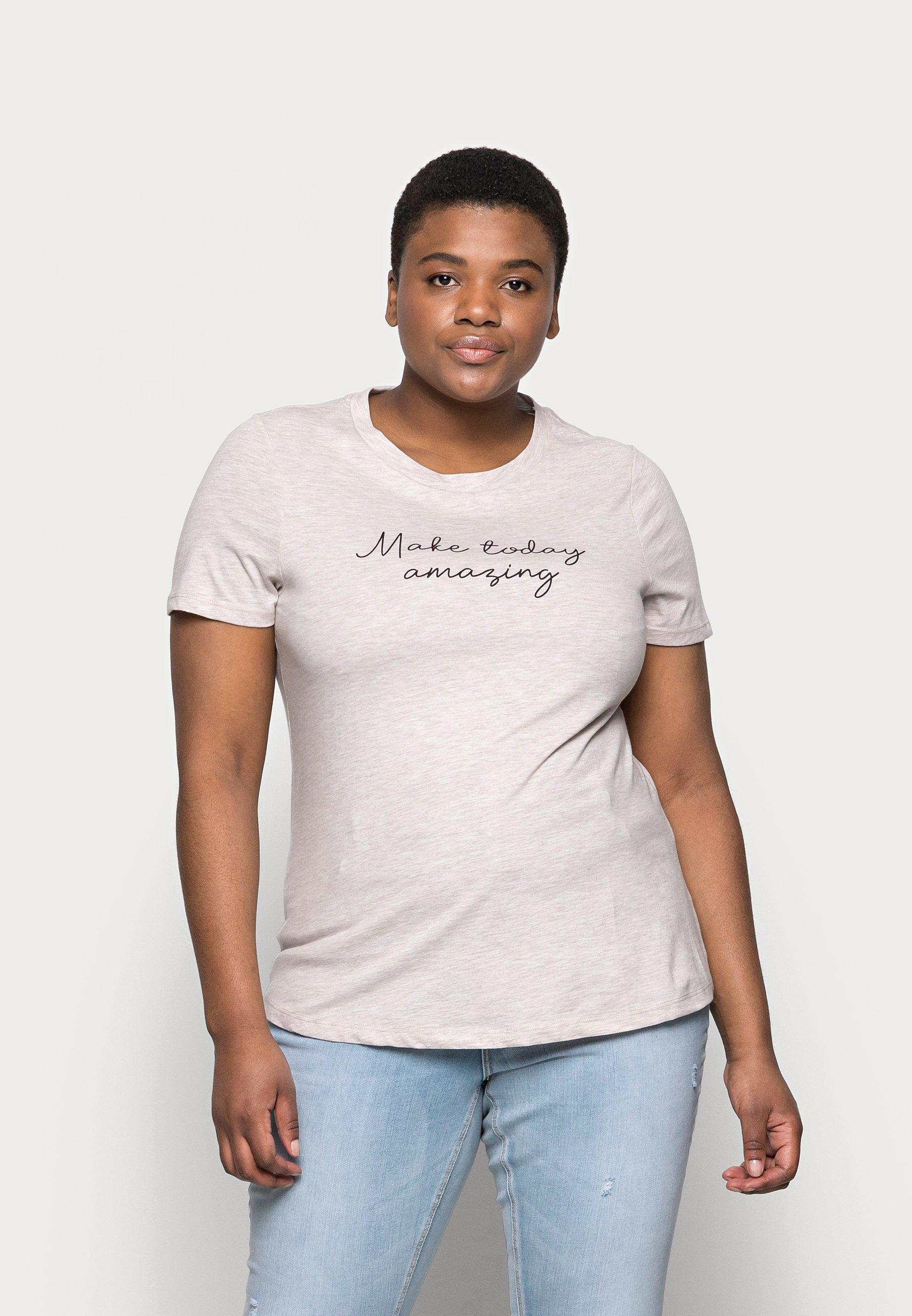 Femme HILLA - T-shirt imprimé - camel/black