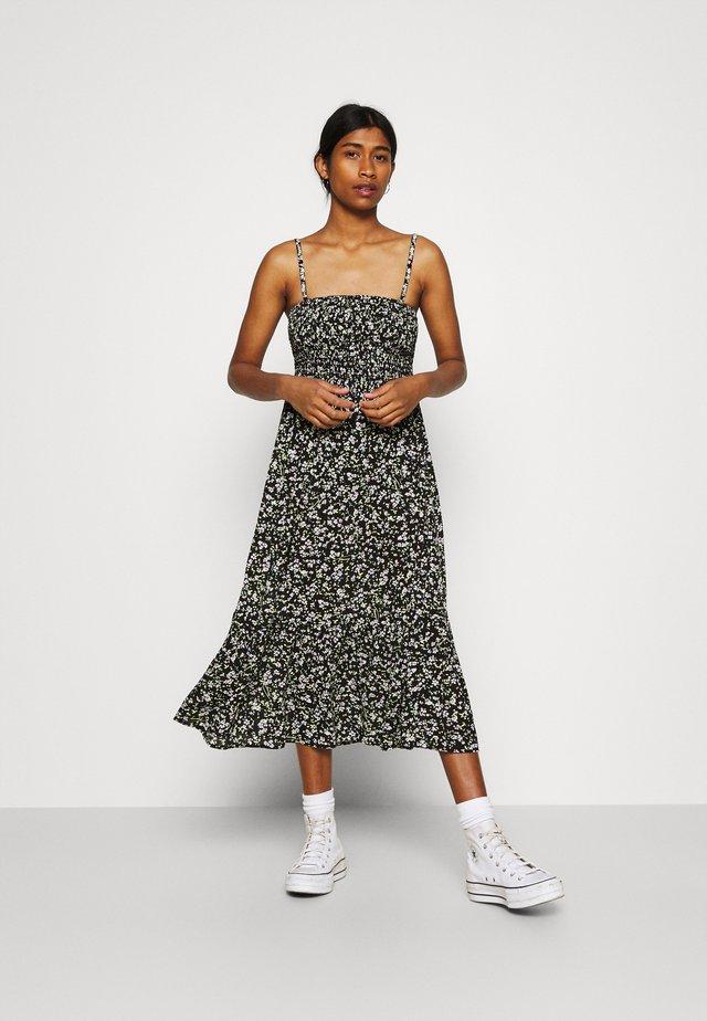 SMOCK FLORAL DRESS - Korte jurk - black/green