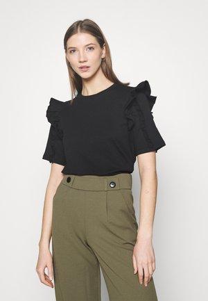 VIMAYRIN FRILL - Print T-shirt - black