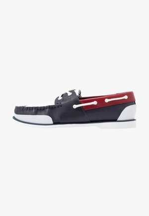 NAUTIC - Boat shoes - navy/white/dark red
