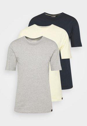 CORE 3 PACK - T-paita - grey marl/light yellow/navy