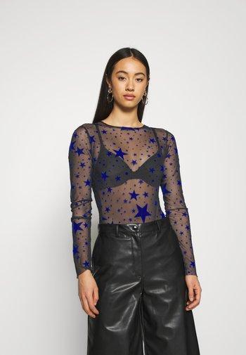 HALLOWEEN STAR FLOCKED BODYSUIT - Long sleeved top - black