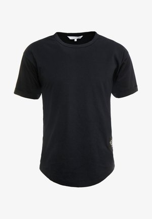 BADGE TURN UP SLEEVE - Basic T-shirt - black