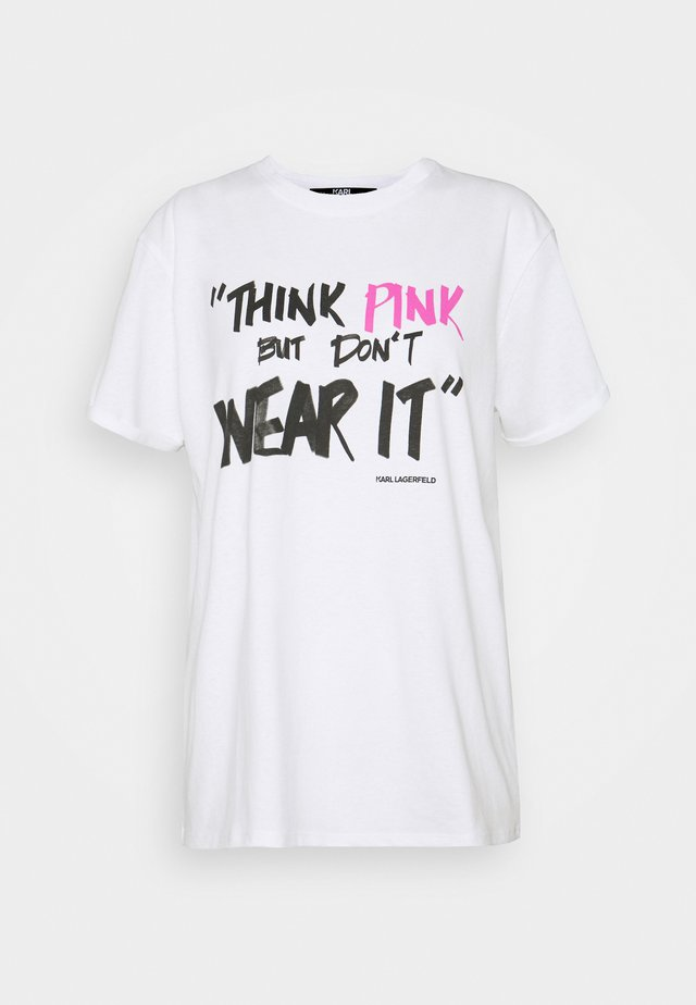 KARL THINK PINK GRAPHIC  - T-shirts med print - white