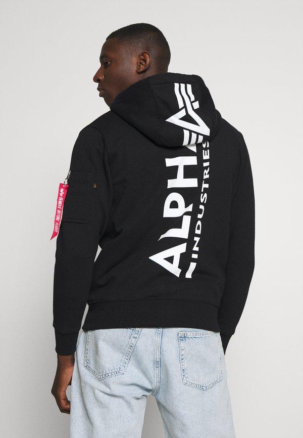 Alpha Industries BACK PRINT ZIP HOODY - Bluza rozpinana - black/czarny Odzież Męska AZJG