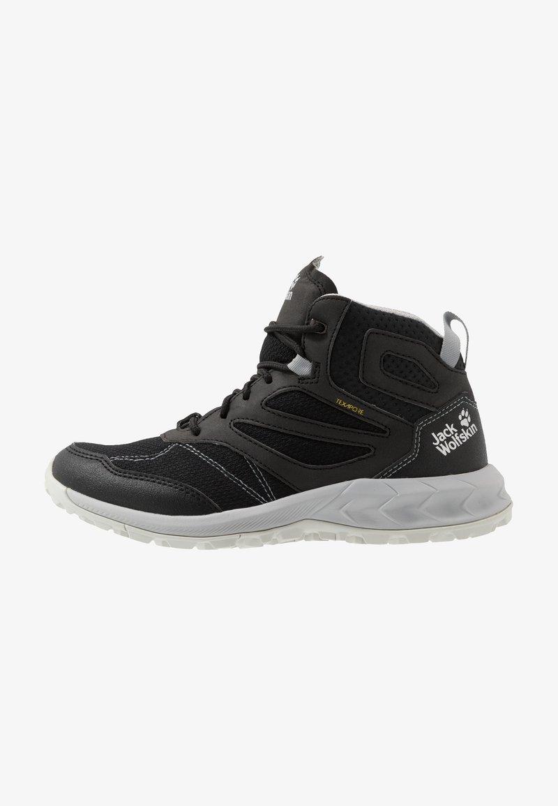 Jack Wolfskin - WOODLAND TEXAPORE MID - Hiking shoes - black/light grey